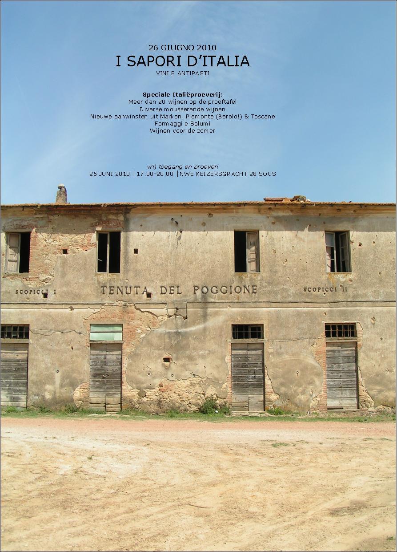 Uitnodiging Italiaanse Wijnproeverij 26 juni: 17u-20u